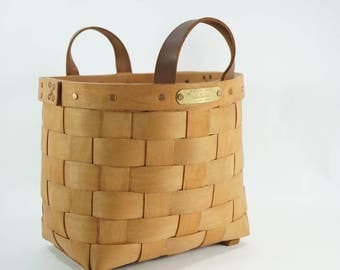 Mountain Trails Baskets, Split Oak Basket w/ Leather Handles, 1991 USA Made, Plant, Toy, Laundry, Towel, Container, Storage,  Free Ship