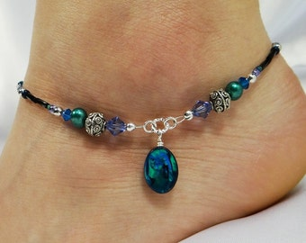 Anklet, Ankle Bracelet Blue Paua Shell Anklet, Beach Anklet Foot Jewelry Boho Jewelry Cruise Jewelry Vacation Jewelry Summer Anklet