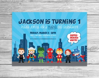 "Marvel inspired ""Baby Superhero"" Birthday Party Invitation"