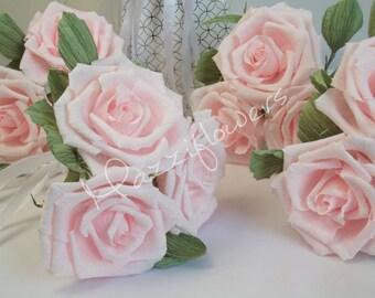 Wedding flowers, bridal flower, paper flowers,bouquet bridesmaids,bouquet little girls,bouquets roses,paper flower rose.