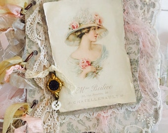 Shabby chic, vintage style French lady image chipboard album,  altered, romantic, decor