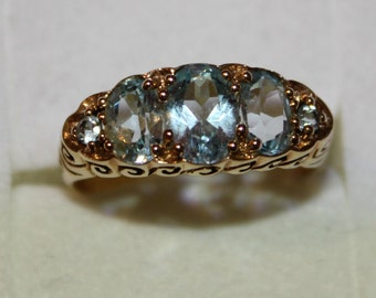 9ct yellow gold Blue Topaz Dress Ring