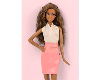 Pink faux-leather skirt for Barbie and Poppy Parker