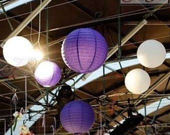 9x White & Purple Paper Lanterns with LED Bulbs for Wedding Engagement Anniversary Birthday Party Hanging Lighting Decoration