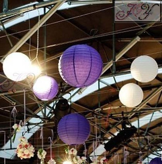 White & Purple Paper Lanterns with LED Bulbs for Wedding Engagement Anniversary Birthday Party Hanging Lighting Decoration