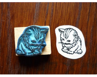 Rubber stamp tigre engraved by hand