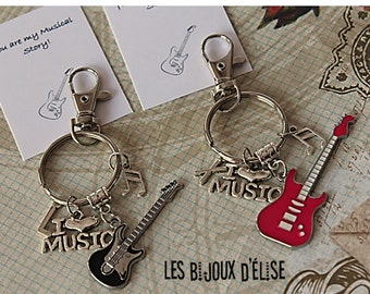 Set of 2 Personalized I LOve Music Keychains Electric Guitar Keychains His and Hers Couple Keychain Valentine's Keychains