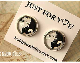 Sale - Black and White Cat Earrings Stud Yin Yang Studs Earrings- Handmade Post Earrings - Gift Earrings - 16mm