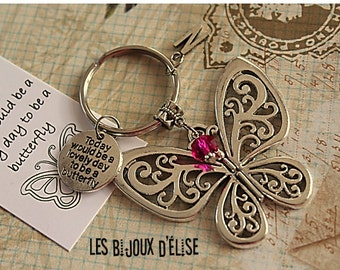 Sale - Personalized Butterfly Keychain Antique Silver Today Would be a Lovely Day to Be A Butterfly Keychain