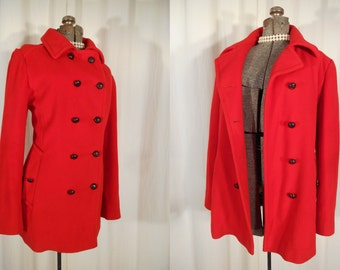 Vintage 1960s Coat / 60s Mod Coat Large / Bright Red Fit and Flare Pea Coat / Plus Size Red Wool Coat / Mackintosh