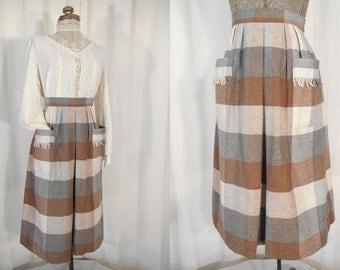 Vintage 1940s Skirt - Brown and Grey Plaid Wool Skirt with Pockets