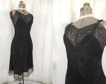 Vintage 1940s Slip - 40s Black Nylon Lace Full Slip, Size Small 1940s Slip, Sm 40s Bias Cut Slip, WW2 WWII Lingerie