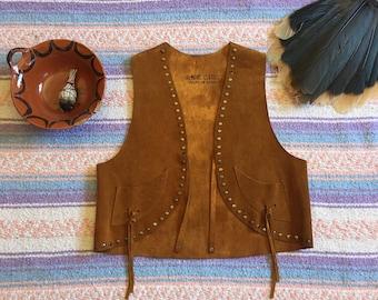 Vintage Genuine Brown Leather Made in Spain Stidden Boho Hippie Chic Woodstock Festival Vest, Size Small Medium