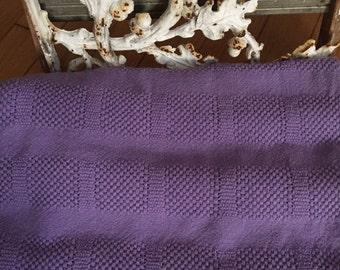 """Lavender Knit Blanket, 50""""w x80""""l, Bed Blanket // Lavender Throw // Twin Bedding // Lavender Twin Blanket / Twin Knit Blanket, 100% Cotton"""