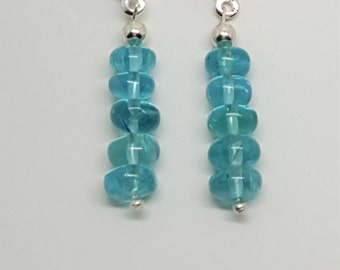 10ctw Apatite Sterling Silver Bead Leverback Earrings