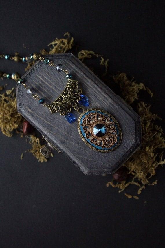 Ethnic jewelry with Swarovski, tibetan blue necklace, Indian blue necklace, boho blue Swarovski necklace, tibetan filigree blue necklace