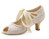 Custom handmade Champagne nude satin bow tie front Low kitten heel bridal peep toe wedding lace ankle mary jane boot court