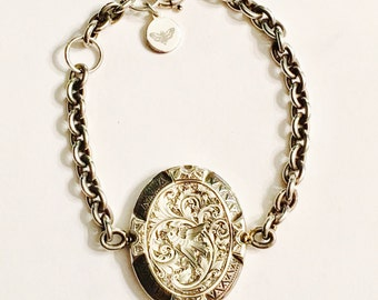 Antique Silver Locket Swallow Bracelet