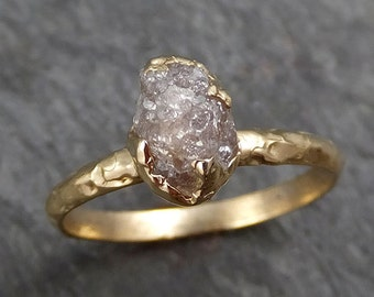 Raw Diamond Engagement Ring Rough Uncut Diamond Solitaire Recycled 14k gold Conflict Free Diamond Wedding Promise byAngeline 0297