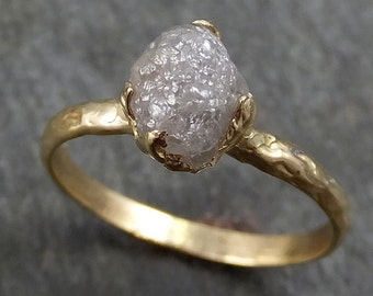 Raw Diamond Engagement Ring Rough Uncut Diamond Solitaire Recycled 14k gold Conflict Free Diamond Wedding Promise byAngeline 0299