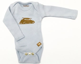 L/S Sasha Baby Onesie - Light Blue Surf Bug