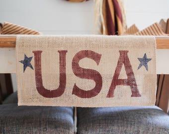 USA burlap Table Runner, AmericanaTable Runner, Patriotic table runner, country Star Table Runner, Stars, Primitive Star, Free Shipping*