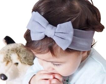 Baby Girl Headbands, Baby Headbands, Baby Girl, Newborn Headbands,  Baby Bows, Baby Bow Headband, Bow Headband, Gray Headband, Baby Headband