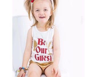 BE OUR GUEST Beauty Beast Princess Belle Love bodysuit Tee Shirt or Tank Top baby ladies girls