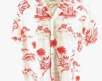 Vintage 80s Hawaiian Island Print Shirt Mens 2XL USA Made Kai Nani [H40C_0-9]