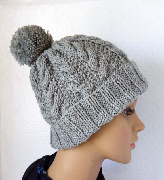 Womens Knit Hat Pattern : Knitting Pattern, Knitted Cable Beanie, Womens Chunky Knit ...