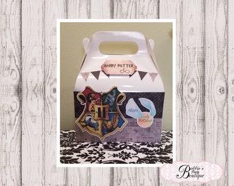 Harry Potter party favor box, Harry Potter gable box, 10 Harry Potter party favor gable box, Harry Potter favor box