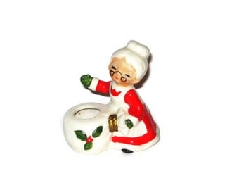 Vintage Christmas Mrs Santa Claus Candle Holder Figurine Japan Porcelain Nippon Yoko Boeki Ceramic Figure Gift Craft Ornament Decoration