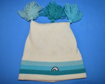 80s Igloo White Blue Three Bobble Wool Winter Hat