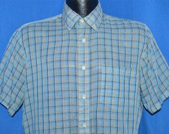 80s Blue Silver Metallic Plaid Button Down Shirt Medium
