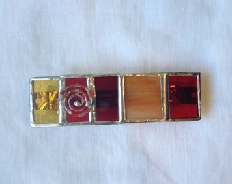 HAIR CLIP Red,Orange and Yellow Colors France Hair Barrette/Holder with Fillagree