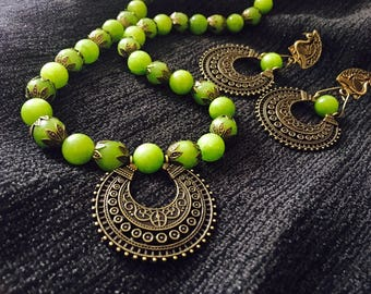 Handmade necklace and earring set apple green and bronze