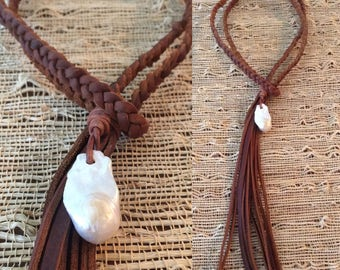 Braided Kodiak Leather Lace with Fringe and Barqoue Pearl Accent - wears two ways