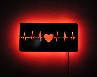 LED 16 Gauge Steel Heartbeat Metal Wall Sculpture with Remote Control