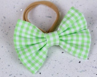 Green Gingham Bow & Bow tie