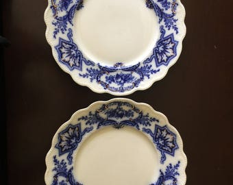 Antique Flow Blue China Dinner Plates W H Grindley England 1891-1914 Set of 2 Alaska