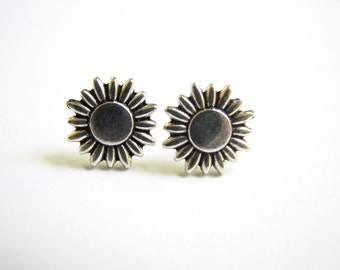 Silver Sunflower Earring, Small Stud Earrings with Stainless Steel Post, Daisy / Sunflower Jewelry