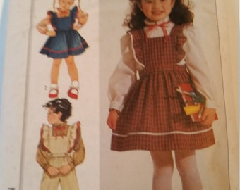 Vintage 1985 Simplicity Sewing Pattern 7011 Child's blouse, jumper and overalls in Size 5, 6, 6X