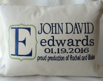 Personalized Baby Boy Gift - Birth Announcement Keepsake Pillow - Monogrammed Baby Boy - Perfect Nursery Gift