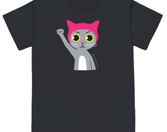 PUSSYHAT PUSSYCAT on Black Unisex Tee Shirt