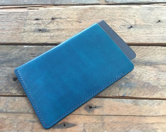 Field Notes Cover - Evening Blue - Hand Dyed - Veg Tan Leather - Choice of Thread Colour - Hand Stitched