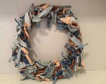 Denim Jean Belt and Tie Twig Wreath