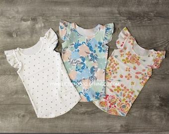 Baby girl shirt, baby girl clothes, ruffle sleeve shirt, flutter sleeve shirt, girls shirts, girls floral shirt, baby tank top, girls tank