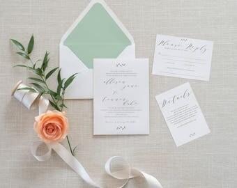 ALLISON SUITE || simple, classic wedding invitation, leaf, laurel, watercolour, calligraphy, invitation, rsvp, information card
