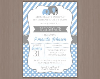 ELEPHANT Baby Shower Invitation 5x7 - Digital Invitations or Printed by us!  Boy Baby Shower, It's a Boy, Elephants, Blue and Gray