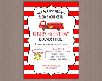 Fire Truck Invitation, Birthday Party Invitation, Fireman Party, Boys Birthday Party Invitation, Printed, Digital, First, 1st, 2nd, 3rd, 4th